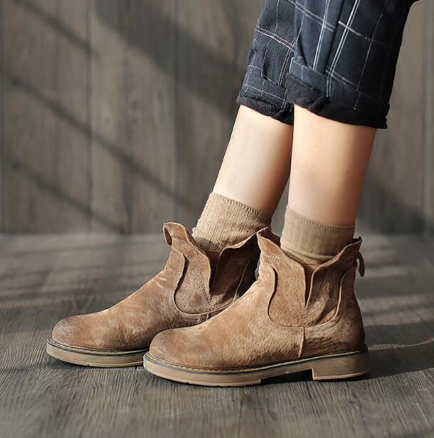 British Bottines Femmes Désert Chaussures Talon Plat Bout Rond À Enfiler Cowboy Tailles