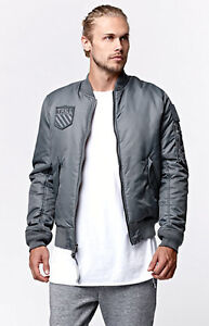 88def531b0b NEW MEN'S BEEN TRILL GREY BOMBER PATCH JACKET FLIGHT JACKET SIZE ...
