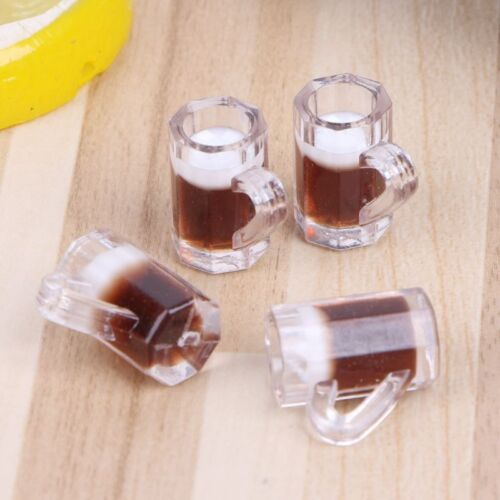 4pcs 1:12 Scale Toy Kitchen Beer Drinking Cups Dollhouse Miniature Mug Accessory
