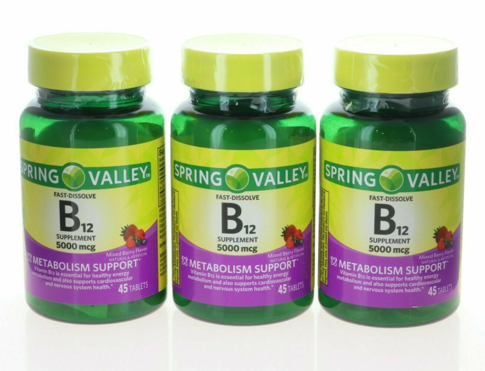 Vitamin B12 5000mcg 45 Count 3 Pack Fast-Dissolve Strawberry Tablets