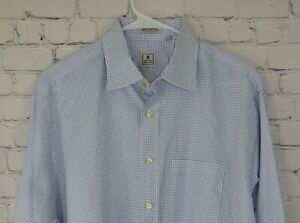 Peter-Millar-Long-Sleeve-Button-Shirt-Blue-White-Check-Mens-XL-16-5