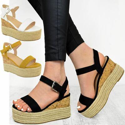 Womens Ladies Low Cork Wedge Platform Sandals Summer Espadrilles Comfort Size   eBay