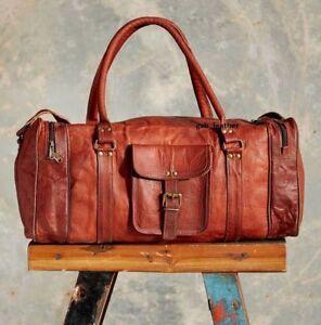 New-24-034-Men-039-s-Genuine-Leather-Brown-Travel-Gym-Sport-Luggage-Weekend-Duffle-Bag