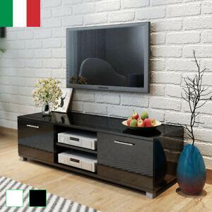 Dettagli su Mobile Basso Porta TV Moderno Lucido Soggiorno Parete Mobiletto  Nero/Bianco