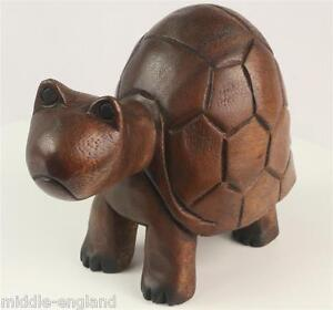 TORTOISE-TURTLE-SCULPTURE-ACACIA-WOOD-HAND-CARVED-25CM-ANIMAL-ORNAMENT-FIGURE