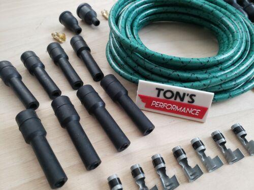 DIY Universal Cloth Covered Spark Plug Wire Kit Set Vintage Wires v6 v8 Green Bk