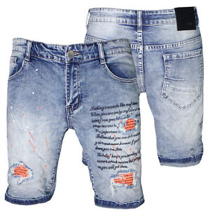 Bermuda Jeans uomo Denim pantaloncini strappati elasticizzati blu nuovo 6656