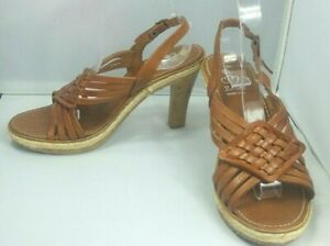 Plaited-Leather-Heeled-Sandals-Shoes-UK6-EU39-Tan-Strappy-Holiday-Summer