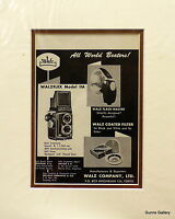 Original Advertisement mounted ready to frame Walz Camera Equipment  1950