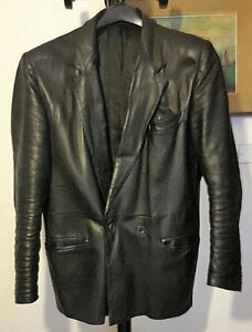 Giacca-uomo-in-vera-pelle-colore-nero-made-in-italy-Tg-50-Vintage