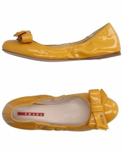PRADA Damen Leather Logo Bow Scrunch Flat Vernice Soft Yello Ballerinas