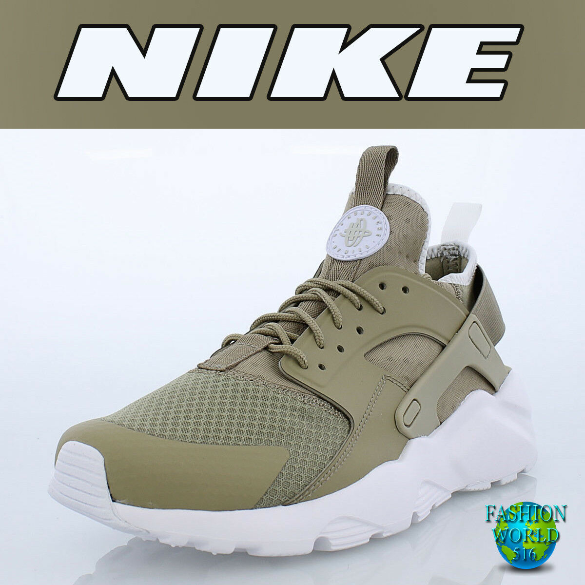 Nike Men's Size 11.5 Air Huarache Run Ultra Khaki Pale Grey White 819685-200 NIB