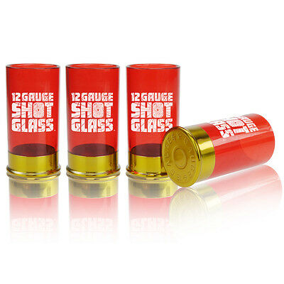 12 Gauge SHOTGUN SHELL SHOT GLASS SET of 4 shells glasses drinking game barware