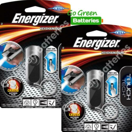 2 x Energizer LED Keyring Torch Touch On-Release Off Keychain Pocket Handbag