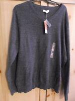 Sonoma Life + Style Men's Fine Gauge V Neck Sweater Heather Soft Xxl Blue
