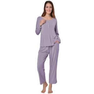newest 7e3d1 953c4 Details zu Pyjama Damen Hausanzug Langarm Schlafanzug Freizeitanzug Lila 44  / 46