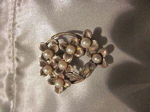 1930s-Vintage-Sterling-Silver-Akoya-Pearl-Clover-Flower-Brooch-Pin-12-Grams