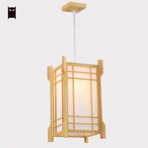 Oak Wood Square Pendant Light Fixture Japanese Hanging Ceiling Lamp Tatami Room Ebay