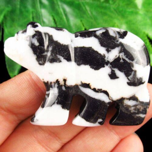 100/% Natural Black and White Zebra Jasper Carved Bear Pendant 32g A-371DP
