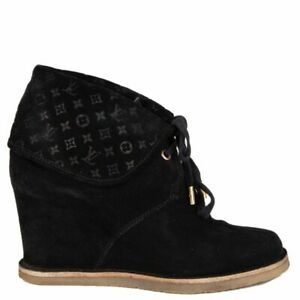 purchase cheap later new cheap 58628 auth LOUIS VUITTON black monogram suede Wedge Ankle Boots ...