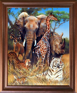 Zoo-Exotic-Collage-Giraffe-Rhino-amp-Elephant-African-Safari-Animal-Framed-Picture