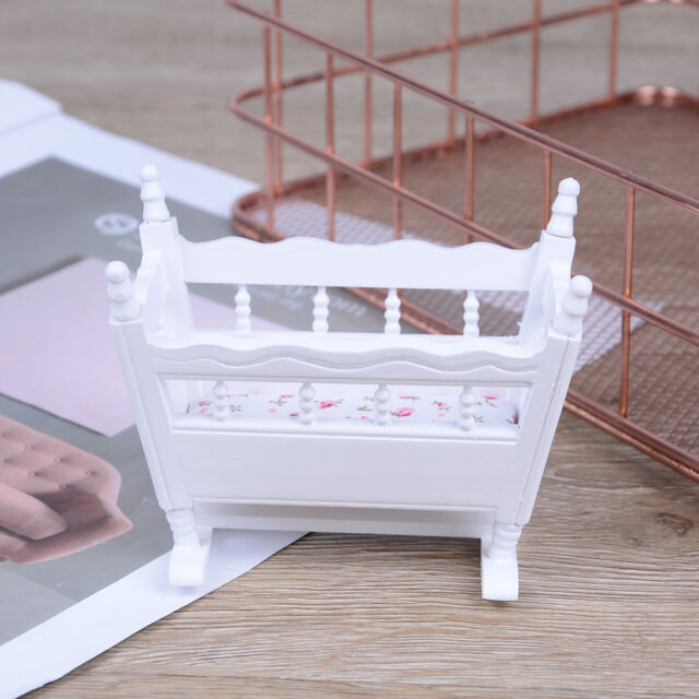 Wondrous Dollhouse Miniature White Wooden Baby Rocking Cradle Crib Nursery Room Gxnmusmwu Forskolin Free Trial Chair Design Images Forskolin Free Trialorg