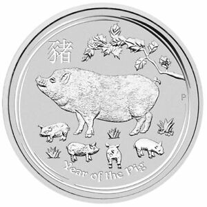 2019 Year of the Pig Perth Mint Lunar Series II 1 Kilo Silver Coin