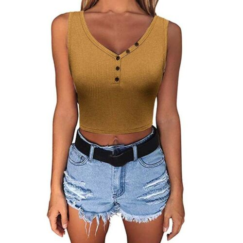 Womens Button Crop Tops Ladies V-Neck Vest Shirt Blouse Tank Summer Party Slim