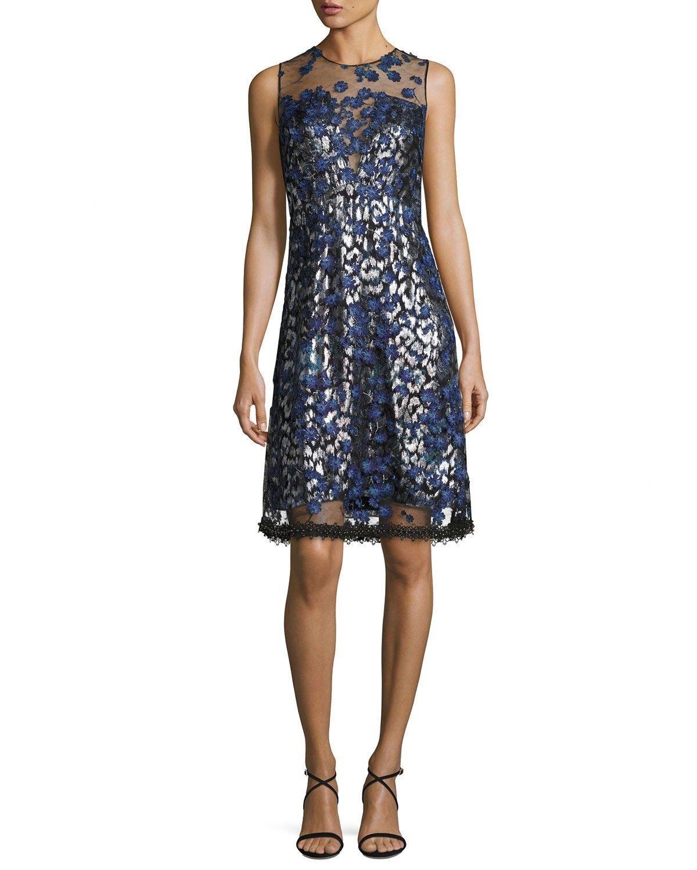 Elie Tahari Oliva 3D Floral  Vestido apliques Azul, Metálico Talla 10 usado una vez  disfruta ahorrando 30-50% de descuento