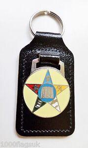 Pentagram or Star with Order Symbols Orange order Black Leather Key Fob