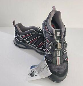 Women-s-Salomon-Sz-8-X-Ultra-2-Black-Gray-Pink-Hiking-Trail-Shoes-371641-NEW