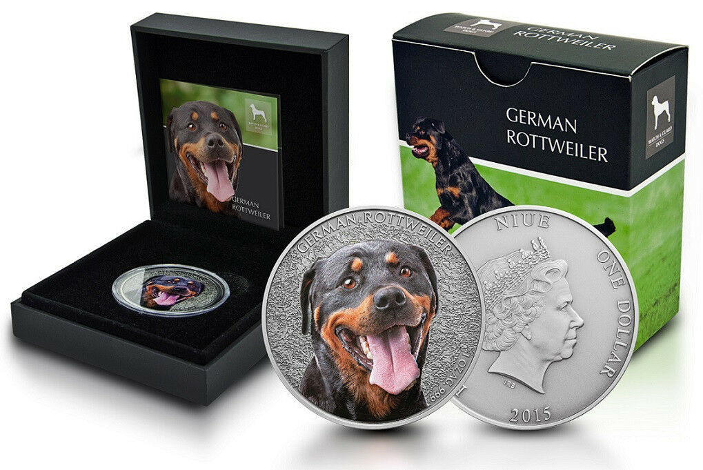 Niue 1 OZ argentoO GERMAN rossotweiler colore 2015 ASTUCCIO  watch and Guard Dogs serie