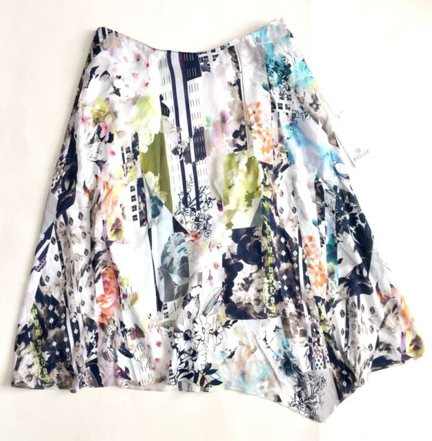 2bf0a8f4cc Basler Womens Abstract Floral Flowy Skirt Asymmetrical Size 38 Medium New A1