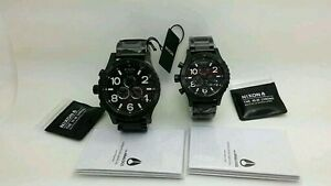 New-Nixon-51-30-42-20-Chrono-All-Black-His-and-Hers-Watch-Set-A083-001-A037-001