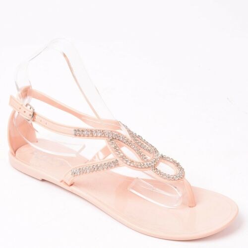 Ladies Women Flat Diamante Sandal Summer Holiday Beach Jelly Flip Flop Shoes 3-8