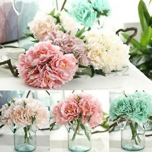 Artificial fake peony silk flower bridal bouquet hydrangea home image is loading artificial fake peony silk flower bridal bouquet hydrangea mightylinksfo Gallery