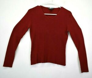 Harold-039-s-Women-039-s-Large-100-Silk-V-Neck-Long-Sleeve-Fitted-Sweater-Red