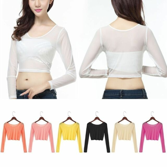 f64698e60 Woman Crop Top Tee T-shirt Size Long Sleeve Tops Tight Shirt Vgy01 White for  sale online | eBay