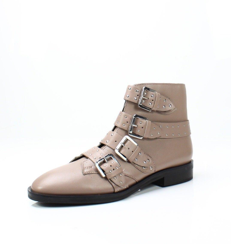 TOPSHOP TOPSHOP TOPSHOP Paige Nude Leather Studded Buckle Straps Ankle Boots Sz 36 EU NEW ace2f0