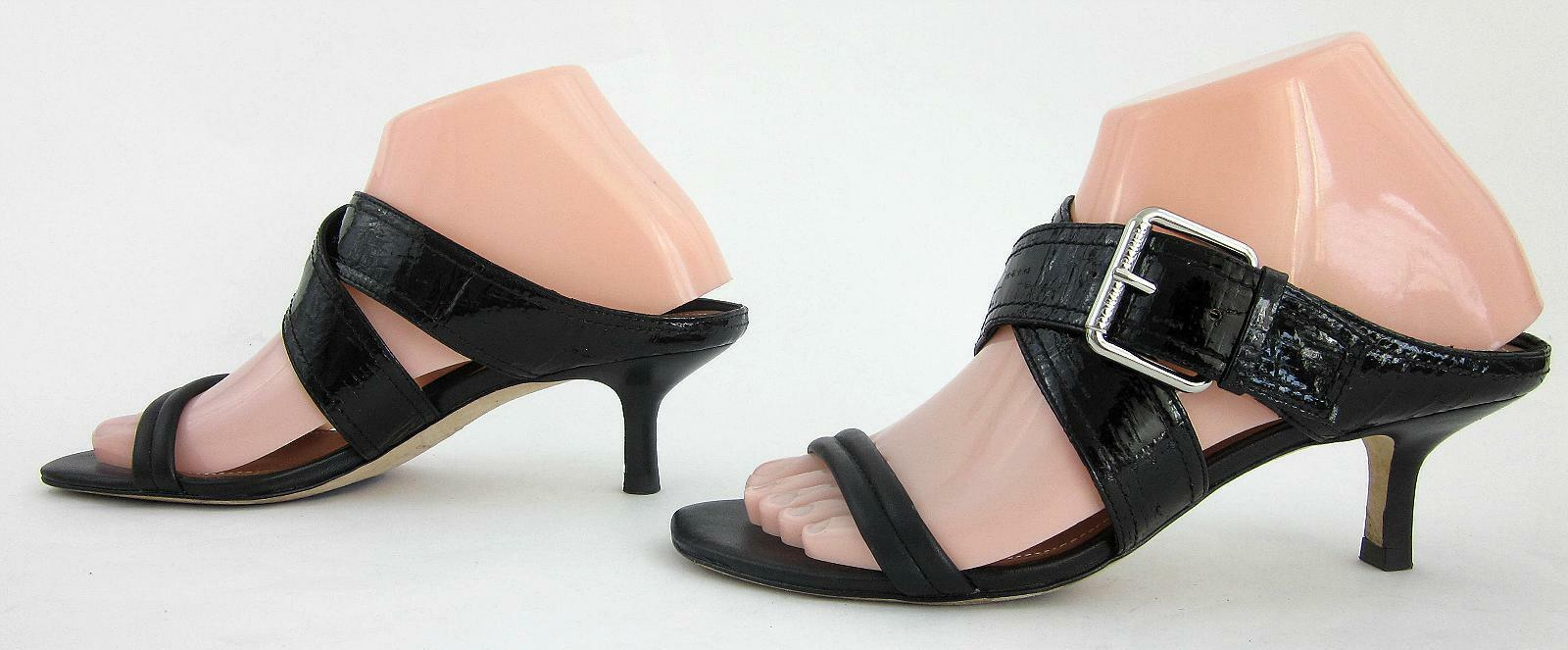 Donald J Pliner 'Mora' 'Mora' 'Mora' Criss Cross Open Toe Kitten Heel Sandals Black Leather 7M 0102a2