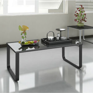 appealing black glass coffee table living room | Rectangle Glass Coffee Table End Side Table Bedroom Living ...