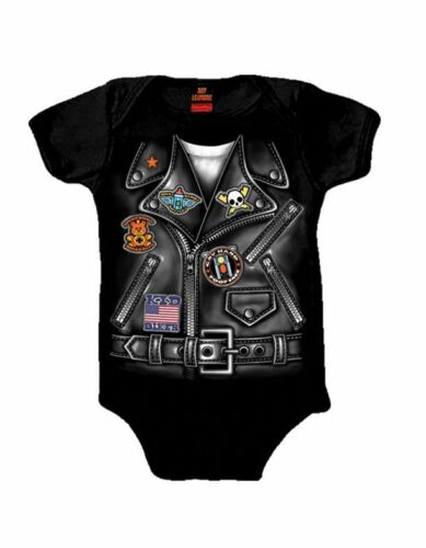 Baby Boy Biker Motorcycle Jacket Creeper Body-Suit Infant