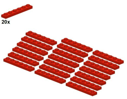 3666-01 20Stk LEGO® Red Plates 1x6 Rot - Platte