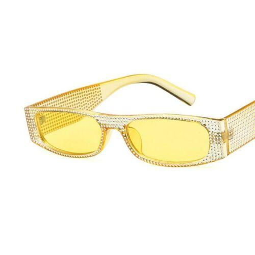 TENDANCE PETIT Rectangulaires Lunettes de soleil avec paillettes en style rétro pour femmes