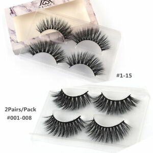 09b8fe68dcc 2 Pair Makeup Faux Mink Natural False Eyelashes Volume Long Eye ...