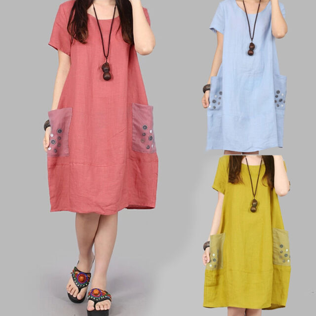 Korean Women Cotton Linen A Line Loose Crew Neck Tunic Maxi Shift Top Dress Plus