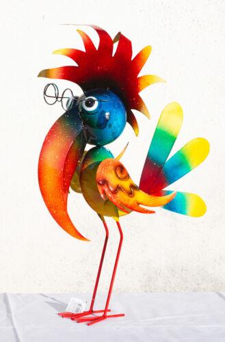 Vogel Figur Garten Metall bunt 55cm groß witzig Gartenfigur Gartendeko Dr