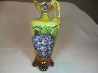Robert Hanke Royal Wettina Austrian Pitcher/Vase Hand Painted Grapes Gold Trim