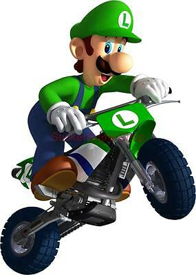 Choose Size - LUIGI KART ON BIKE Bros Decal Removable WALL STICKER Decor Mural