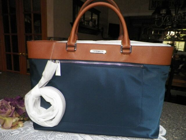 michael kors colgate tote shoulder bag nylon leather navy ebay rh ebay com